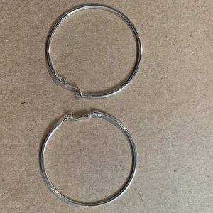 Medium sized silver hoop earrings